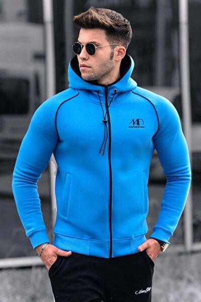 Erkek Mavi Fermuarlı Kapüşonlu Sweatshirt 4701
