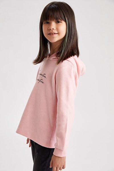 Kız Çocuk Baskılı Kapüşonlu Sweatshirt
