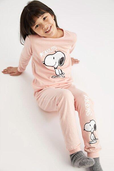 Kız Çocuk Pembe Snoopy Lisanslı Pijama Takımı
