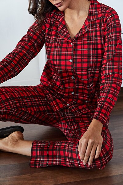 Kadın Kırmızı Kareli Örme Pijama Takımı 1KZK8-11024-04