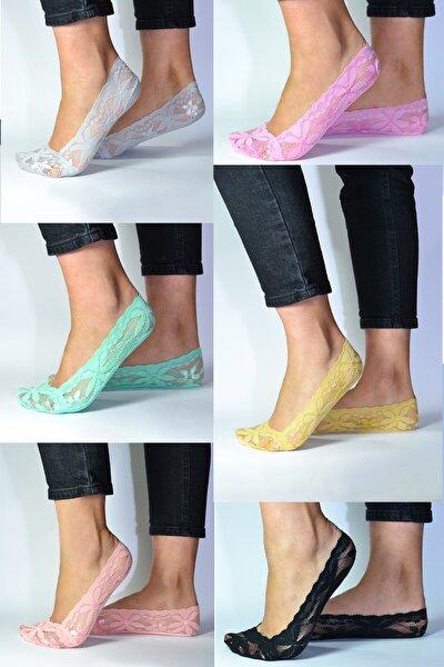 Kadın 6 Lı Soft Renkli Dantel Babet Çorap Icondantel1