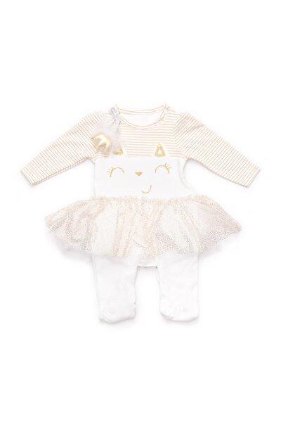 Balerina Kız Bebek Altın Sim Işlemeli Tül Detaylı Prenses Tacı Saç Bantlı Beyaz Tulum