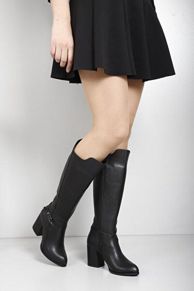 Gön Siyah Sivri Burun Tokalı Topuklu Fermuarlı Günlük Kadın Çizme 38604