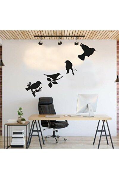 Daldaki Kuşlar Duvar Süsü Dekoratif Ahşap Lazer Kesim Siyah