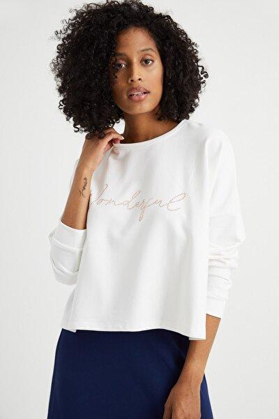 Kadın Ekru Kemik Taşlı Sweatshirt