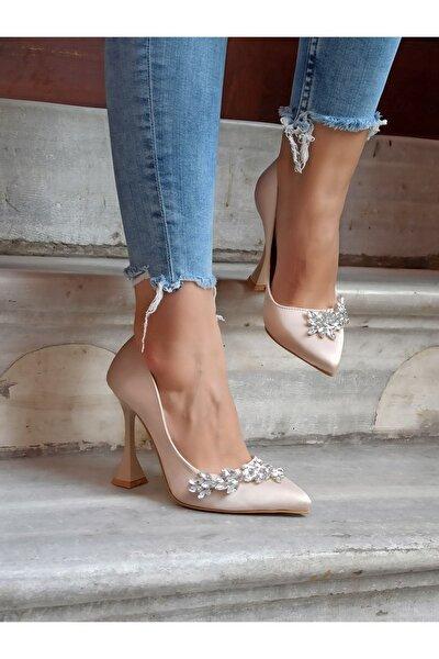 Kadın Ten Saten Taşlı 11 cm Abiye Ayakkabı