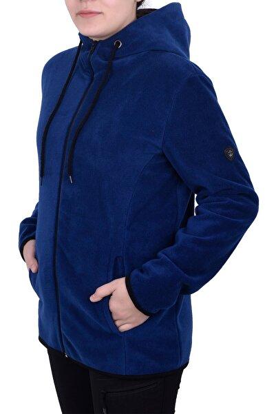 Kadın Mavi Kapüşonlu Fermuarlı Polar Sweatshirt