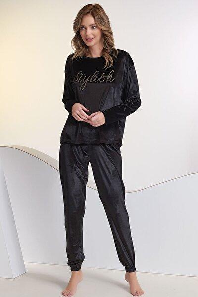 Kadın Siyah Kadife Taş Baskılı Pijama Takım