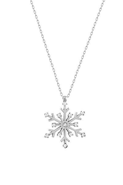 Kar Tanesi Gümüş Kadın Kolye