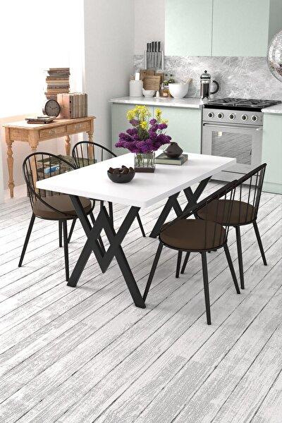 Beyaz Kahverengi Eylül 4 Kişilik Mutfak Masası Takımı
