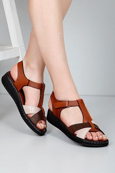 Vizon Antiğe Bej Antik Kadın Sandalet 45615