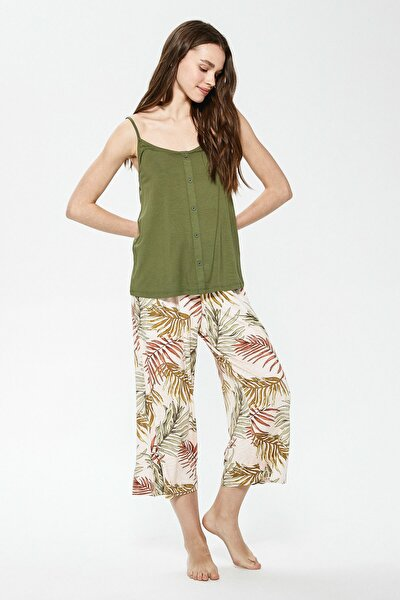 Kadın Açık Yeşil Baskı LCW DREAM Pijama Takım