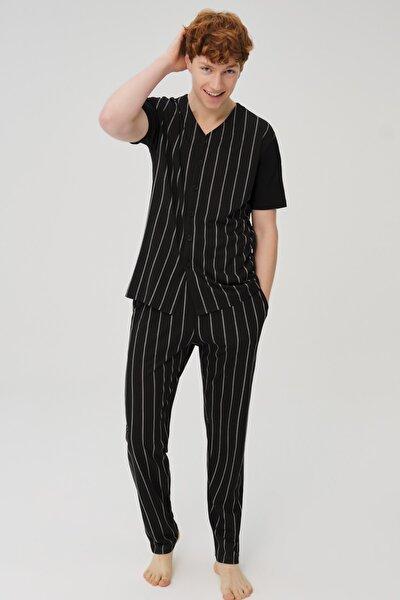 Erkek Siyah Pamuklı Çizgili Gömlek Pijama Takımı