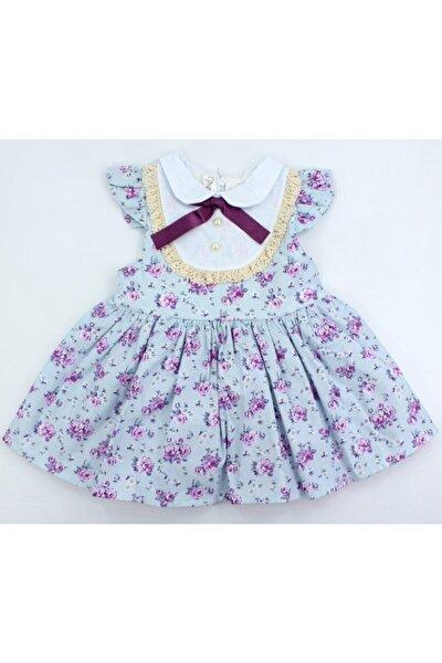 Kız Bebek Gül Desenli Mor Elbise