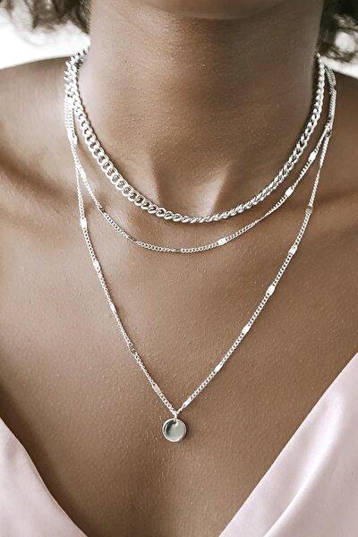 Kadın Katlı Zincir Kolye Pullu Gümüş Renk