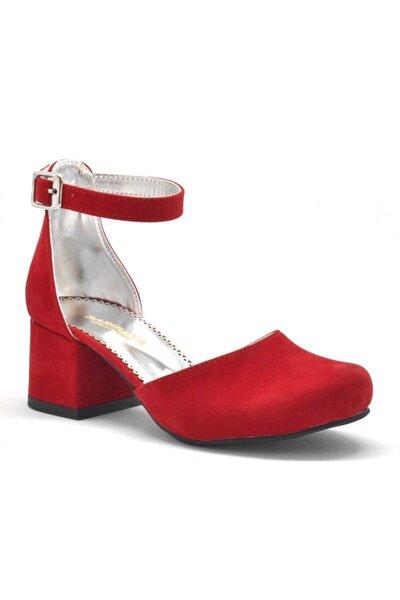 Kırmızı Süet Kalın Topuklu Kız Çocuk Topuklu Ayakkabı