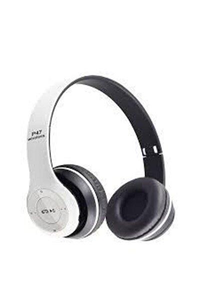 Beyaz Renk Kafa Üstü Wireless Bluetooth Kablosuz Kulaklık Mp3 Extra Bass Fm Radyo