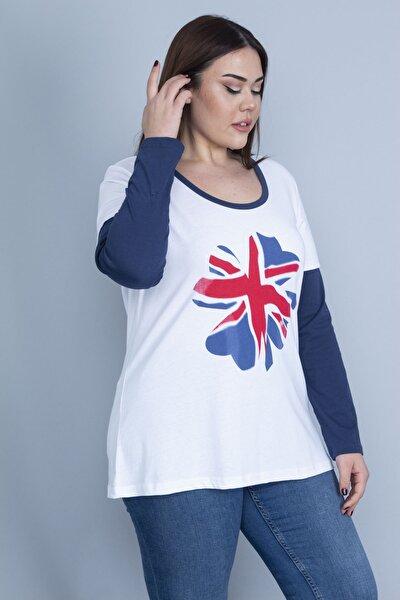 Kadın Beyaz Pamuklu Kumaş Uzun Kollu Renk Kombinli Bluz 65N22972