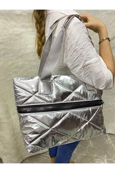 Kadın Gümüş Renk Puf Model Kol Çantası