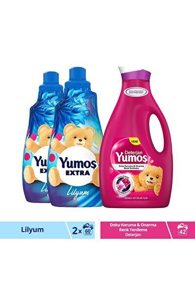 Extra Lilyum Konsantre Yumuşatıcı 1440 ml X2 ve Renkli Giysiler İçin Deterjan 2520 ml