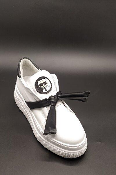 Karlycan Beyaz Vegan Deri Armalı Sneakers