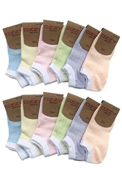 12 Çift Pamuklu Kadın Patik Çorap Yazlık Dayanıklı Topuk Ve Burun Soft Renkler