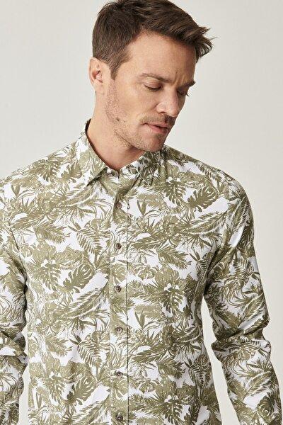 Erkek HAKI-BEYAZ Düğmeli Yaka Tailored Slim Fit Haki-Beyaz Baskılı Gömlek