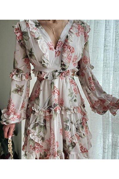 Sırt Detaylı Şifon Elbise