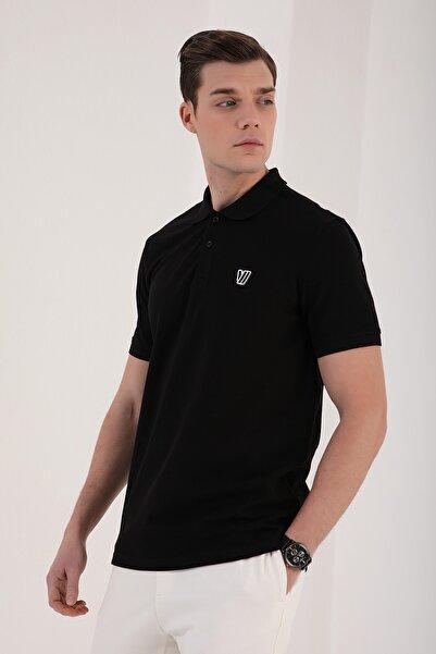Klasik Polo Yaka Siyah Erkek Tshirt T08ER-87768