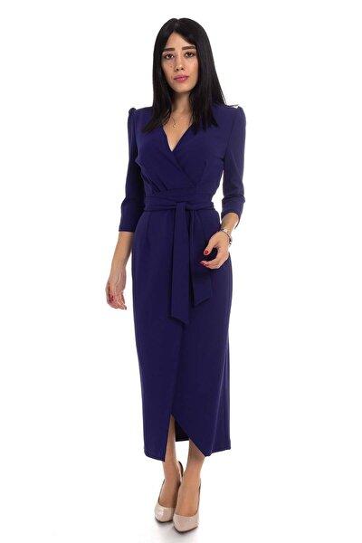 Kadın Morcivert Kruvaze Avelop Truvakar Krep Şık Elbise