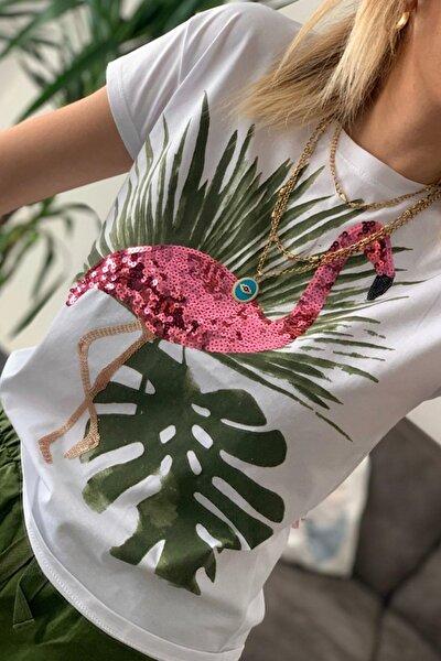 Kadın Flamingo Pul Işlemeli Pamuk Tişört