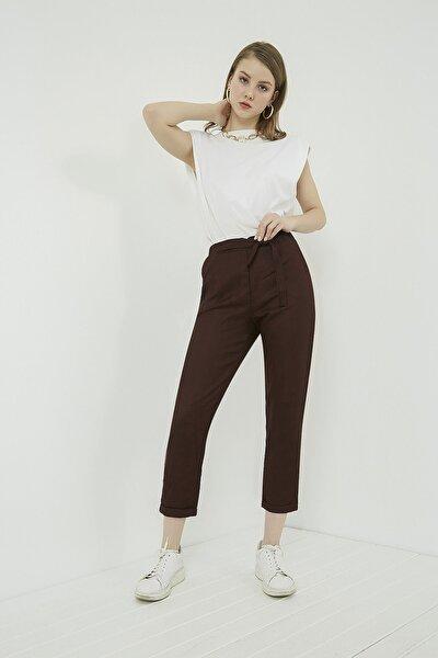 Kadın Bordo Duble Paça Havuç Pantolon