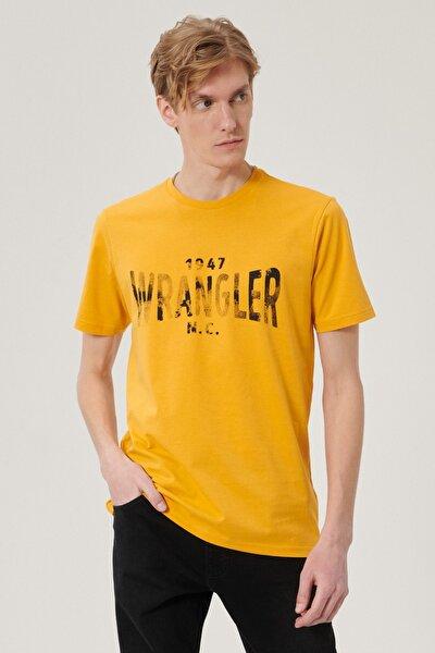 Erkek Hardal Regular Fit Bol Kesim Sıfır Yaka %100 Pamuk Logolu Tişört