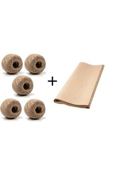5 Adet Jüt Ipi Kırnap Ipi Dekoratif Süsleme Ipi Ve Kraft Kağıt Çeyiz Kağıdı 100x150cm 5 Adet