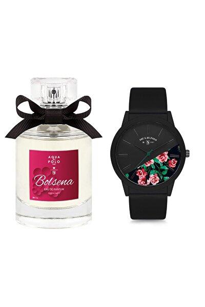 Kadın Siyah Çiçekli Kol Saati Ve Bolsena Edp 50 ml Kadın Parfüm Stwa005001