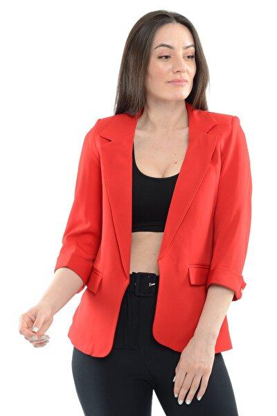 Kadın Kırmızı Kol İncili Blazer Ceket  18910004XXX