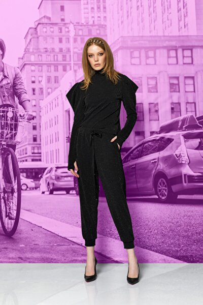 Kadın Siyah Yanları Şeritli Simli Örme Pantolon