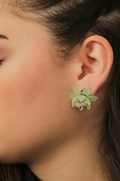 Taşlı Yeşil Çiçek Figürlü Küpe