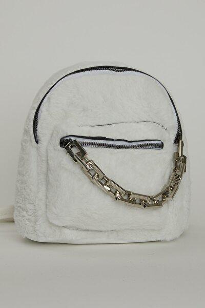 Kadın Beyaz Mini Peluş Kalın Zincir Detaylı Dört Çantası Tbc71
