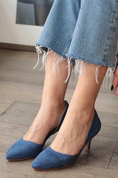 Rene Kot Mavi Kısa Topuklu Ayakkabı