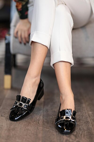 Lottie Siyah Rugan Topuklu Ayakkabı