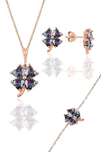 Gümüş rose mistik renkli yonca modeli üçlü set