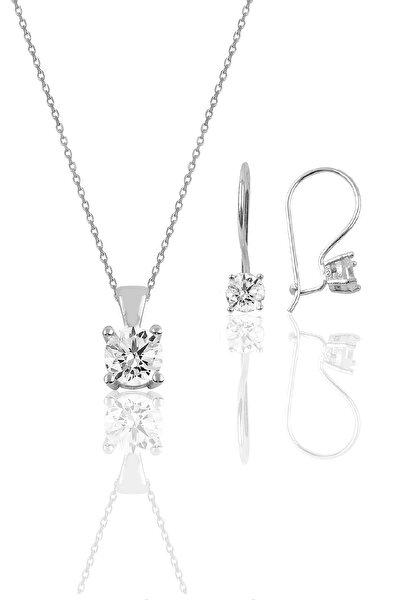 Gümüş rodyumlu tek taş  kolye ve çengelli küpe gümüş  set