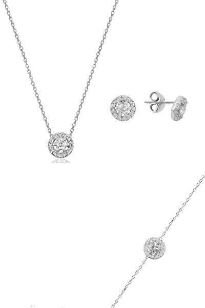 Gümüş rodyumlu pırlanta montürlü kolye bileklik ve küpe gümüş üçlü  set