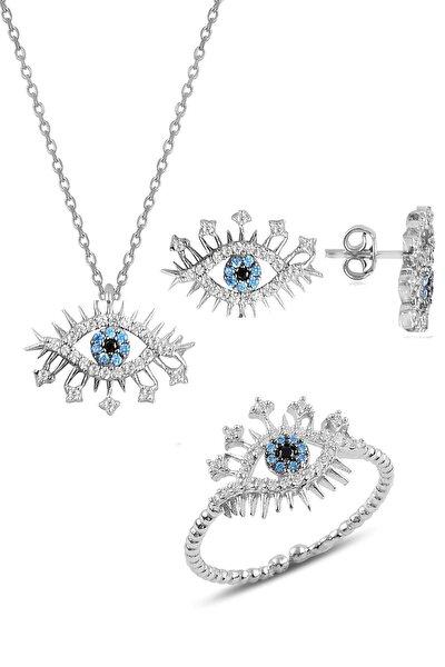 Gümüş rodyumlu zirkon taşlı lareyn kolye küpe ve yüzük gümüş set