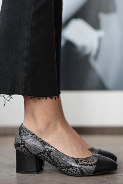 Milena Gri Yılan Desenli  Topuklu Ayakkabı