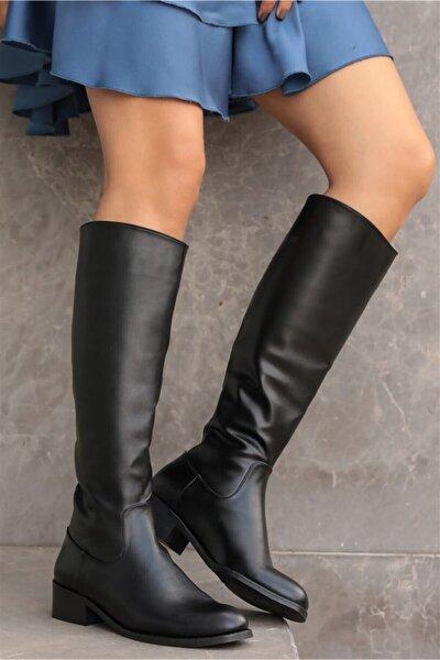Vivien Siyah Fermuarlı Çizme