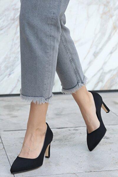 Lita Siyah Süet Topuklu Ayakkabı