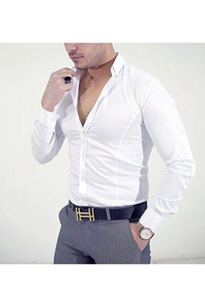 Erkek Beyaz Slim Fit Çizgi Detay Gömlek