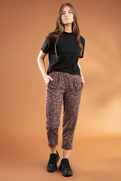 Kadın Leopar Desenli Bilek Boy Pantolon 39526